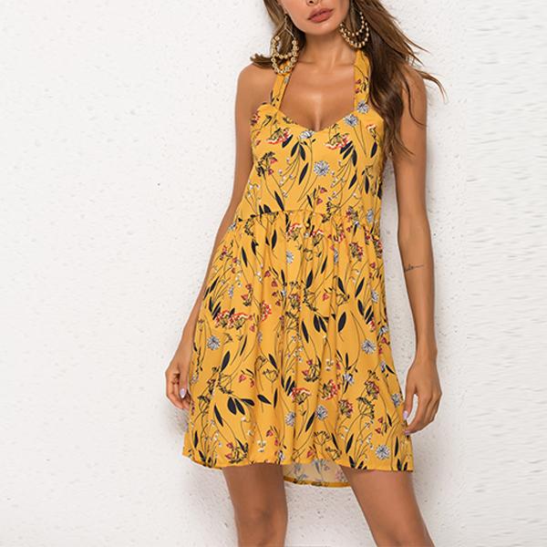 Halter Neck Floral Prints Backless Mini Dress