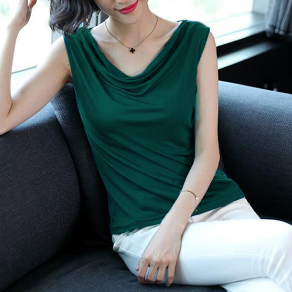 Shawl Neck Sleeveless Party Wear Blouse - Green