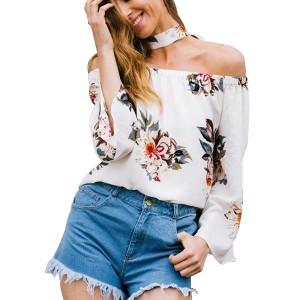 Floral Print Off Shoulder Summer Chiffon Blouse