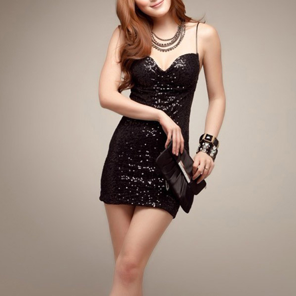 Backless Sequins Party Wear Mini Skirt Dress - Black