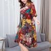 Leaves Printed Digital Prints Mini Dress - Multicolor