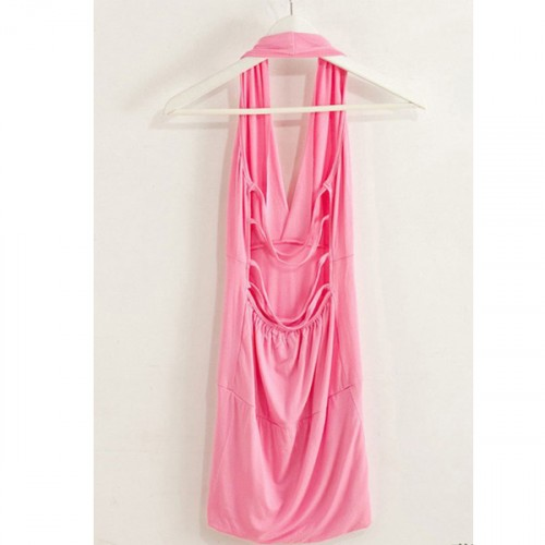 Backless V Neck Slim Party Wear Mini Dress - Pink