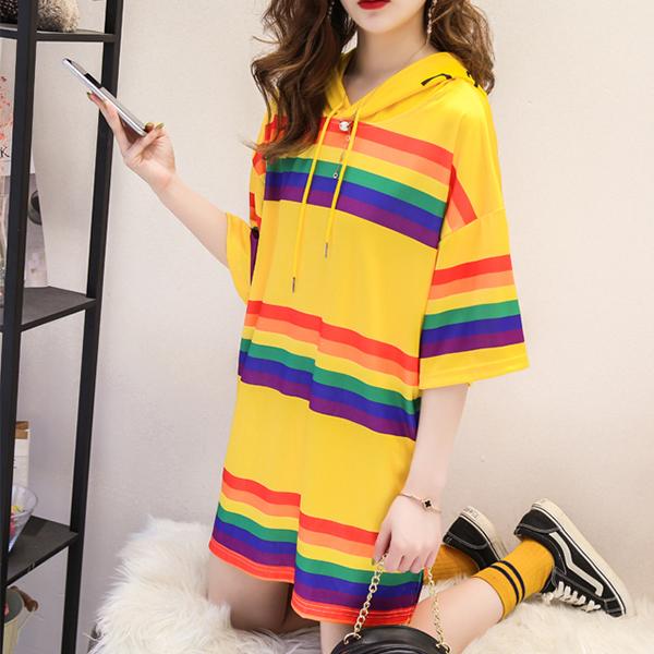 Rainbow Hoodie Neck Loose T-Shirt Dress - Yellow