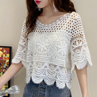 Wavy Neck Hollow See Through Outwear Top - White