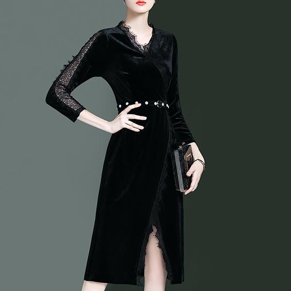 Belt Decorative Long Sleeves V Neckline Dress - Black