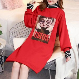 High Neck Contrast Print Casual T-Shirt Dress - Red