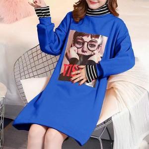 High Neck Contrast Print Casual T-Shirt Dress - Blue