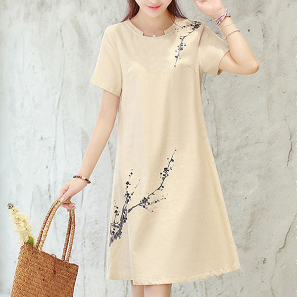 Round Neck Short Sleeves Mini Dress - Apricot