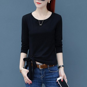Long Sleeves One Side Knotted Round Neckline - Black