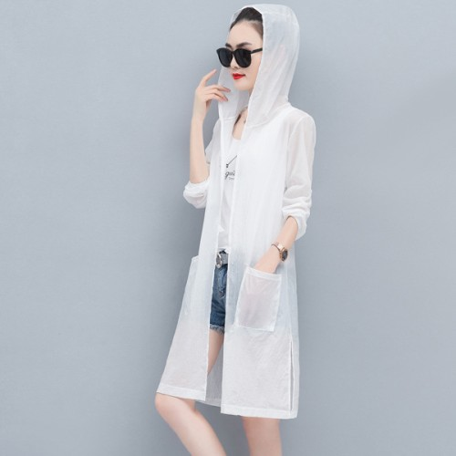 Sun Heat Protections Hoodie Summer Wear Outdoor Cardigan - White
