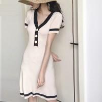 V Neck Contrast Fitted Mini Dress - White