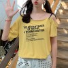 Slash Shoulder Neck Text Prints Loose T-Shirt - Yellow