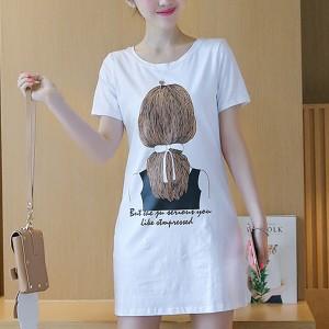 Lady Prints Casual Wear Mini T-Shirt Dress - White