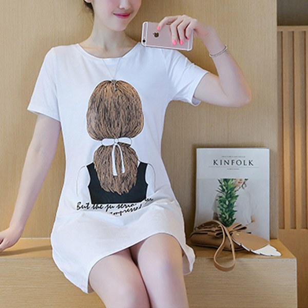 Lady Prints Casual Wear Mini T-Shirt Dress - White