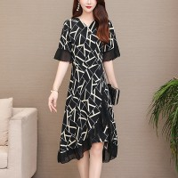 Geometric Prints Asymmetrical Party Dress - Black