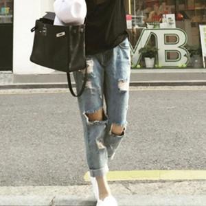 Ripped Long Length Elegant Jeans Pants - Sky Blue
