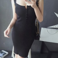 Strap Shoulder Ribbed Button Up Slim Bodycon Mini Dress - Black