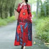 Floral Printed Long Sleeves O Neckline Dress - Red