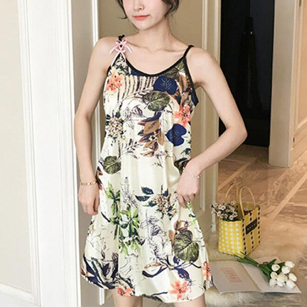 Classic Floral Loose Comfort Mini Nightgowns - Light Green