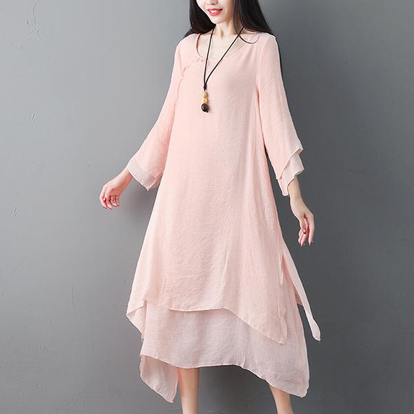 Irregular Mesh Round Neck Midi Dress - Pink