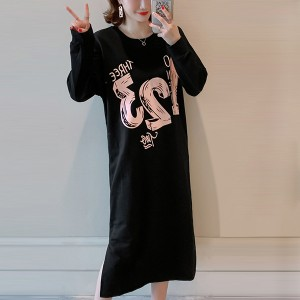 Printed Full Sleeves Round Neck T-Shirt Dress