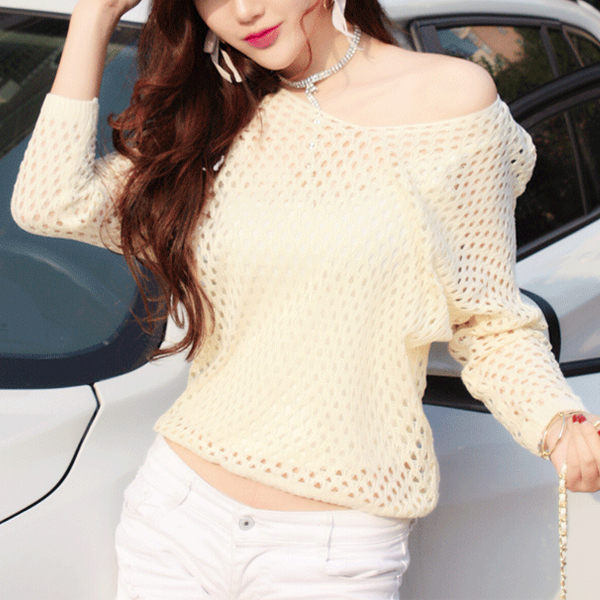 Slash Neck Hollow Net Loose Outwear Top - Apricot