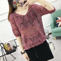 See Through Hollow Summer Wear Outwear Top - Red