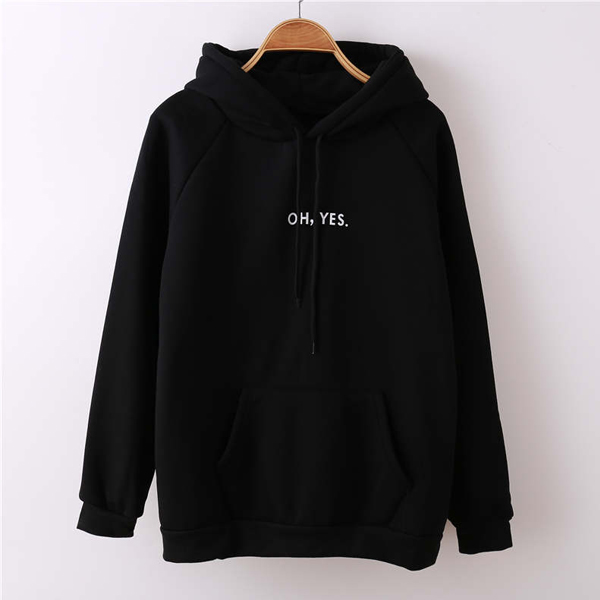 Printed Text Belly Pocket Hoodie T-Shirt - Black