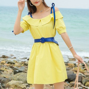 Contrast Strap Shoulder Solid Mini Dress - Yellow