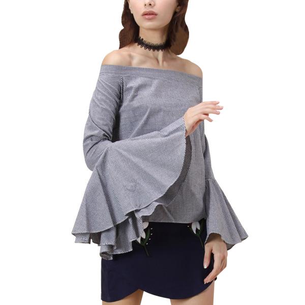 Dramatic Bell Sleeve Off-shoulder Irregular Women Top