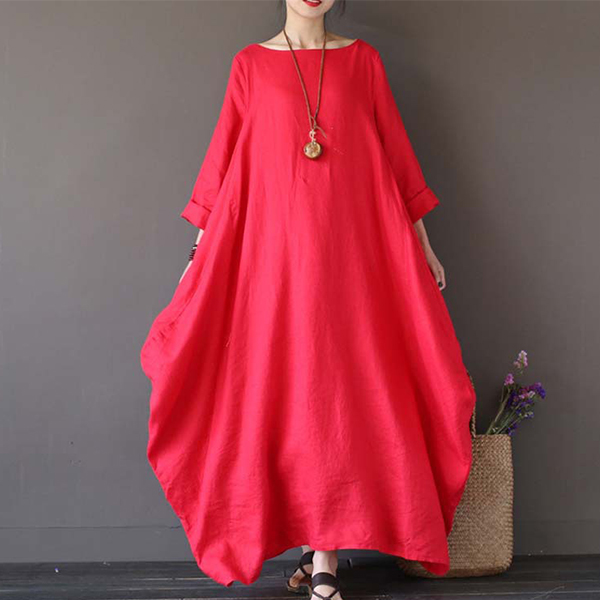 Bat Style Loose Wear Summer Dress - Red