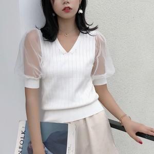 Transparent Net Sleeves V Neck Shirt - White