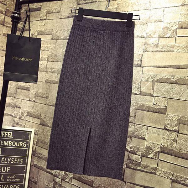 Ribbed Straight Hem Formal Wear Skirt - Grey