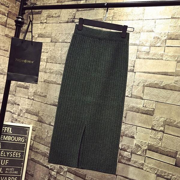 Ribbed Straight Hem Formal Wear Skirt - Green