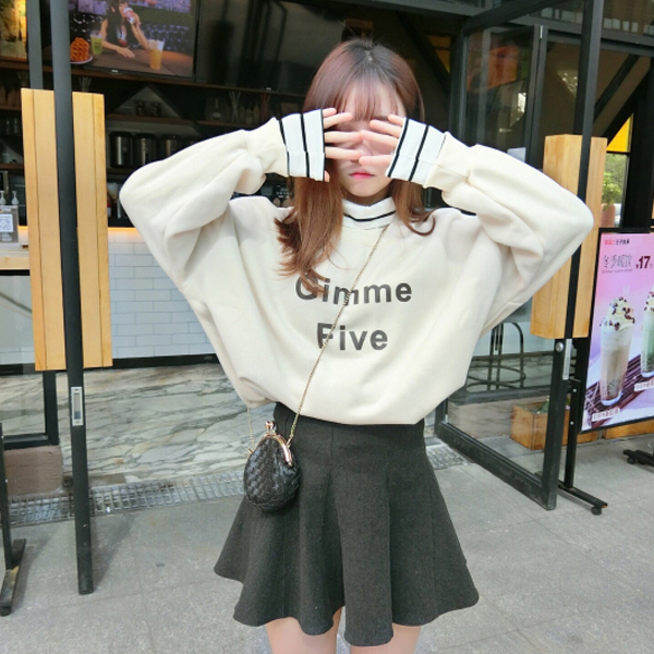 Loose Casual Wear Text Printed Winter T-Shirt - White