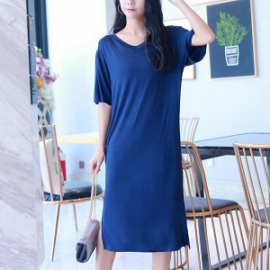 Loose V Neck Baggy T-Shirt Dress - Blue