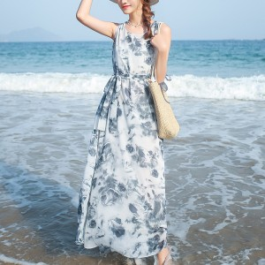 Sleeveless Loose Floral Prints Long Dress