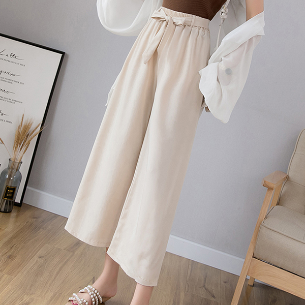 Waist String Elastic Loose Bottom Trousers - White
