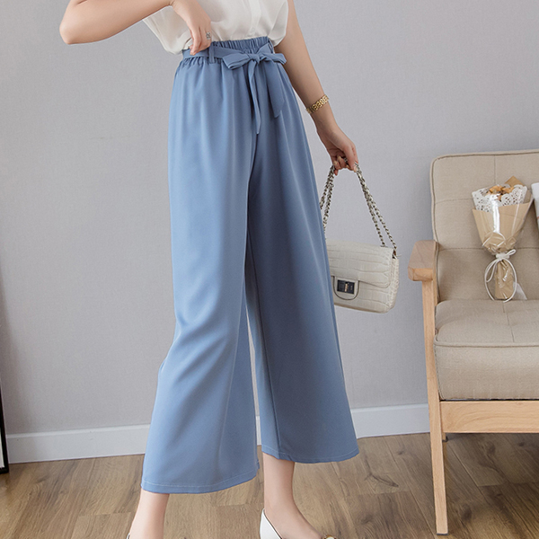 Waist String Elastic Loose Bottom Trousers - Blue