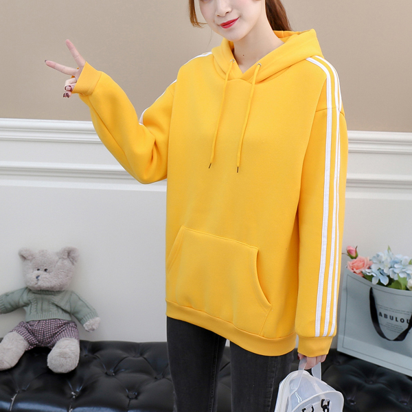 Striped Drawstring Casual Wear Hoodie T-Shirt - Yellow