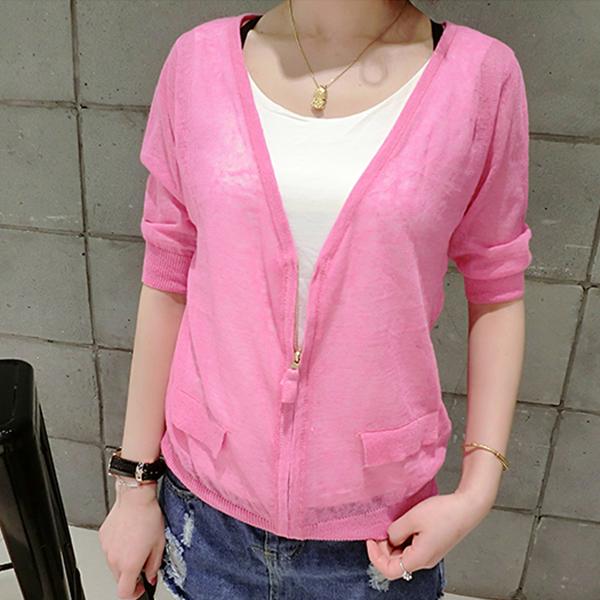 Zipper Thin Fabric Summer Wear Jacket - Pink