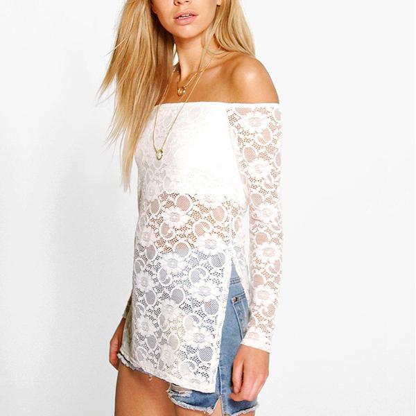 New Elegant White Flower Pattern Lace Top For Women