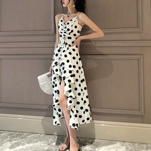 Drawstring Bust Irregular Polka Prints Flared Dress