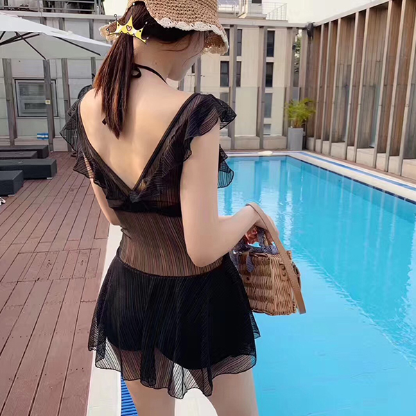 Chiffon Sleeveless Round Neck Swimsuit - Black