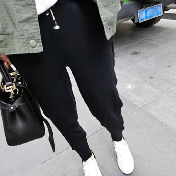 Side Pockets Narrow Bottom Casual Trousers - Black