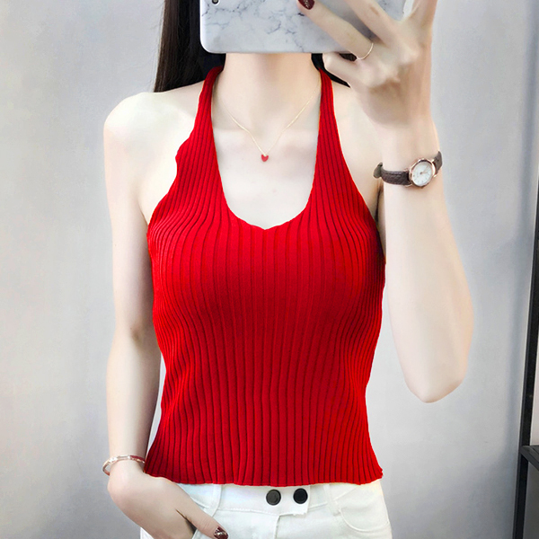 Ribbed Sleeveless Casual Wear Summer Blouse Top - Red
