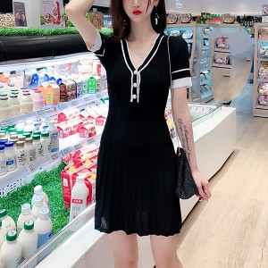 Textured Lines Summer Wear Fitted Mini Dress - Black