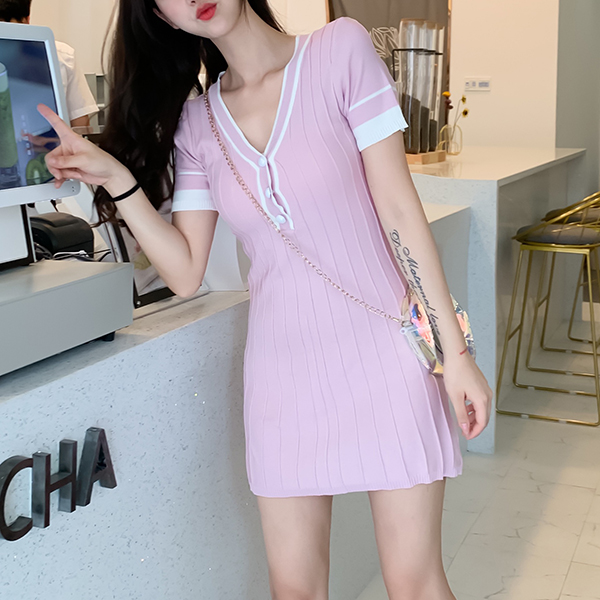 Textured Lines Summer Wear Fitted Mini Dress - Pink