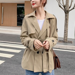 Suit Collar Button Up Waist Band Outwear Coat