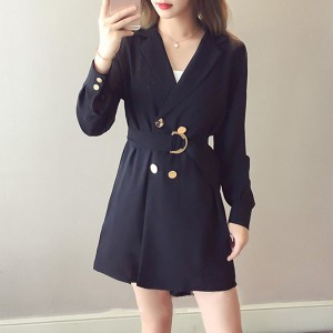 Suit Neck Long Casual Outwear Office Coat - Black